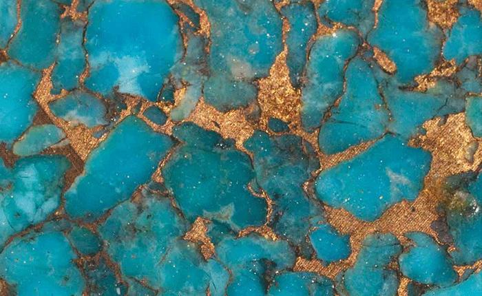 سنگ فیروزه با رگه طلا